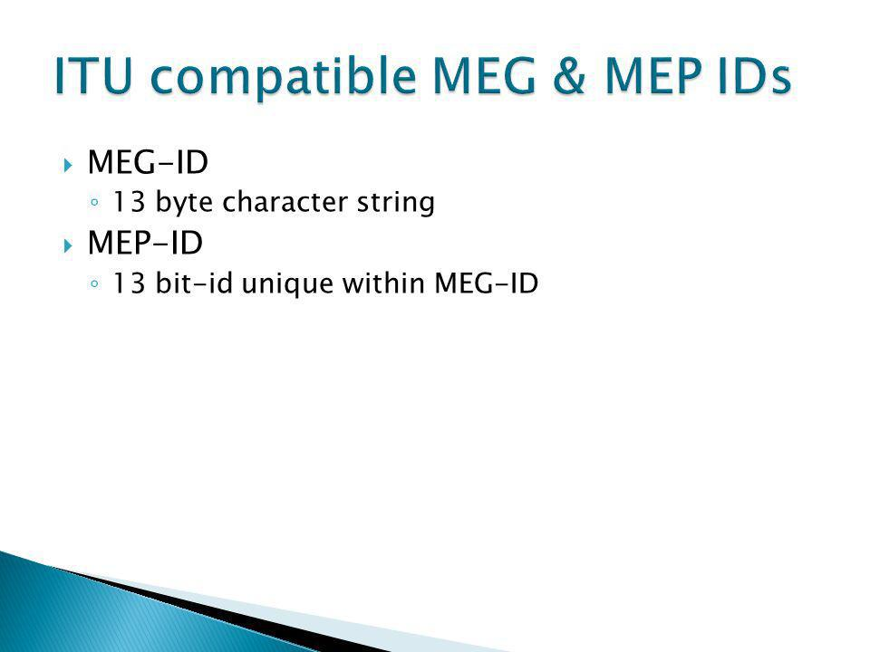 MEG-ID 13 byte character string MEP-ID 13 bit-id unique within MEG-ID