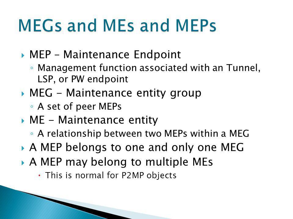 MEP – Maintenance Endpoint Management function associated with an Tunnel, LSP, or PW endpoint MEG - Maintenance entity group A set of peer MEPs ME - M