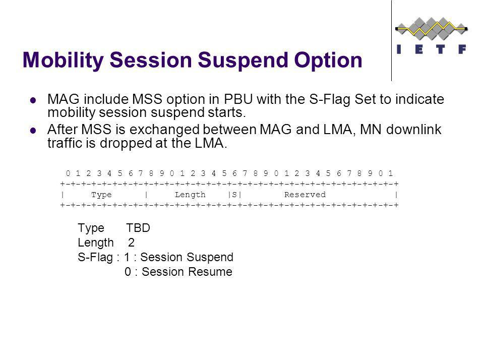 Mobility Session Suspend Option MAG include MSS option in PBU with the S-Flag Set to indicate mobility session suspend starts.