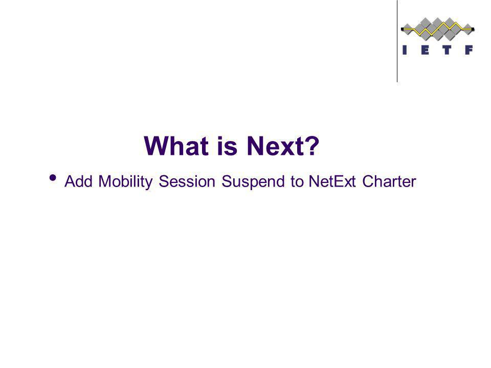 What is Next Add Mobility Session Suspend to NetExt Charter