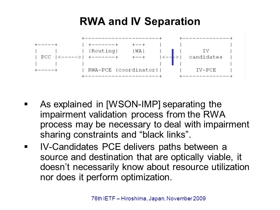 76th IETF – Hiroshima, Japan, November 2009 RWA and IV Separation As explained in [WSON-IMP] separating the impairment validation process from the RWA process may be necessary to deal with impairment sharing constraints and black links.