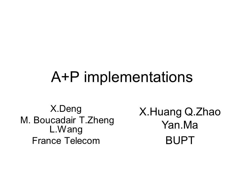 A+P implementations X.Deng M. Boucadair T.Zheng L.Wang France Telecom X.Huang Q.Zhao Yan.Ma BUPT
