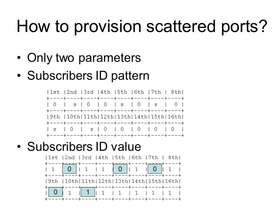 Subscribers ID pattern Subscribers ID value Random ephemeral port selection for Scattered Port Sets NAT Only one line code needs to be changed!