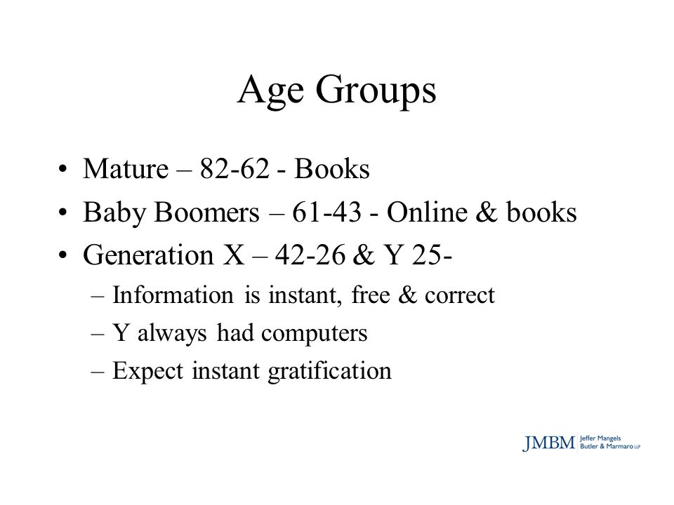 Age Groups Mature – 82-62 - Books Baby Boomers – 61-43 - Online & books Generation X – 42-26 & Y 25- –Information is instant, free & correct –Y always had computers –Expect instant gratification