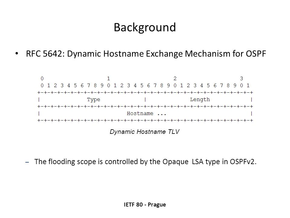 Background RFC 5642: Dynamic Hostname Exchange Mechanism for OSPF IETF 80 - Prague Dynamic Hostname TLV – The flooding scope is controlled by the Opaque LSA type in OSPFv2.