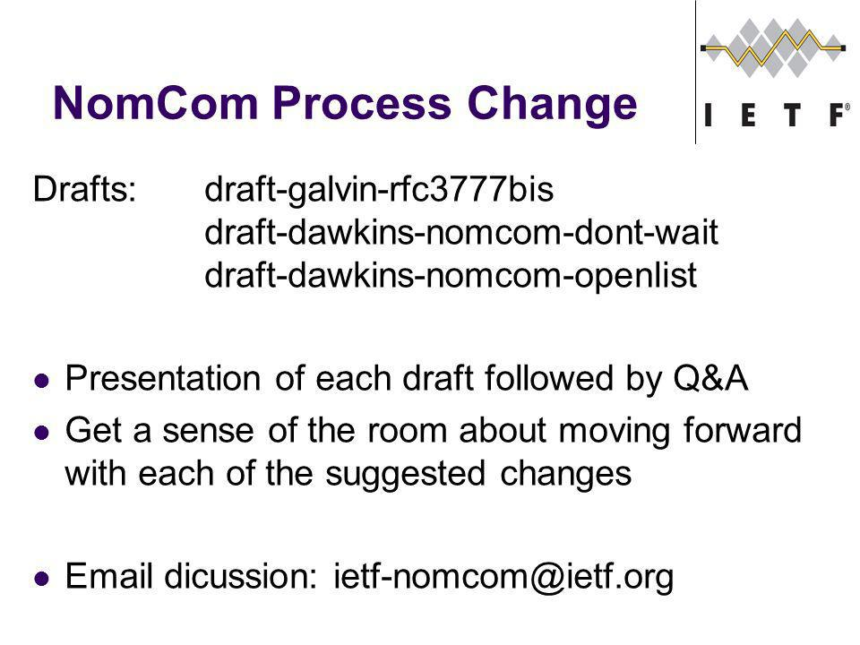NomCom Process Change Drafts:draft-galvin-rfc3777bis draft-dawkins-nomcom-dont-wait draft-dawkins-nomcom-openlist Presentation of each draft followed by Q&A Get a sense of the room about moving forward with each of the suggested changes Email dicussion: ietf-nomcom@ietf.org