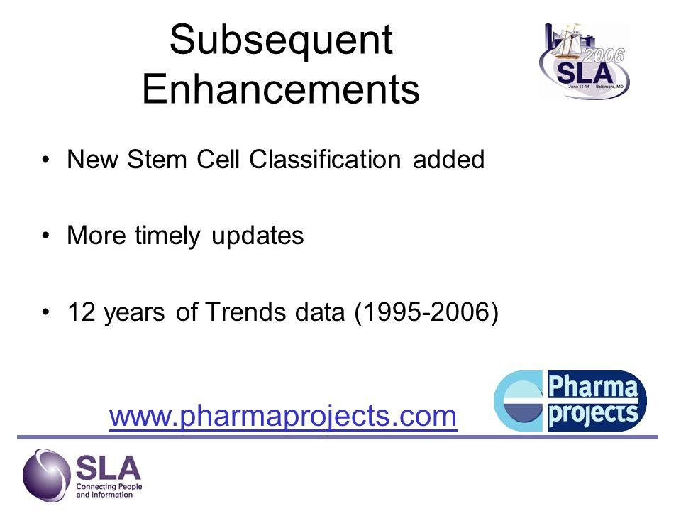 Subsequent Enhancements New Stem Cell Classification added More timely updates 12 years of Trends data (1995-2006) www.pharmaprojects.com