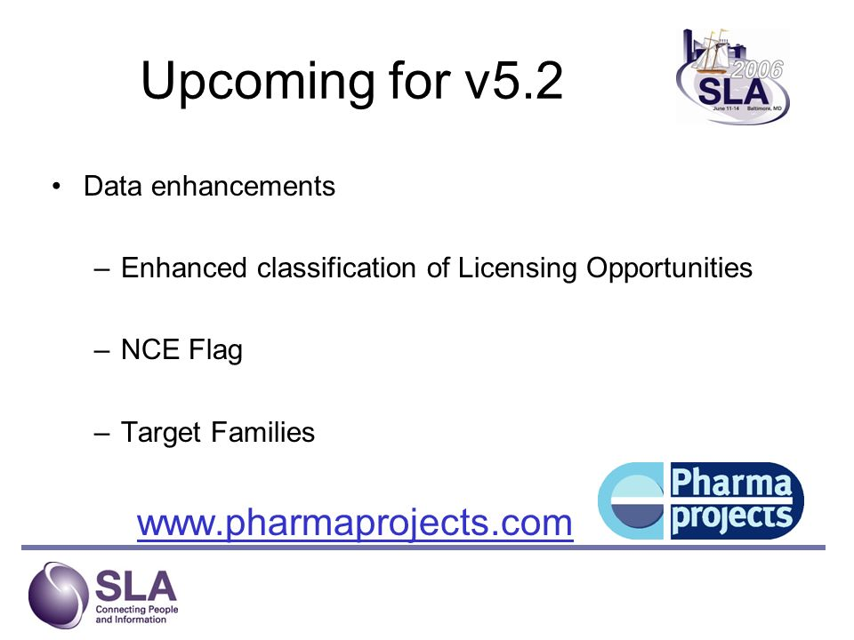 Target Family Groupings ENZYMES - subclasses and EC numbers RECEPTORS - subclasses (2 levels) HORMONES CYTOKINES - subclasses TRANSPORTERS - subclasses and TC numbers www.pharmaprojects.com