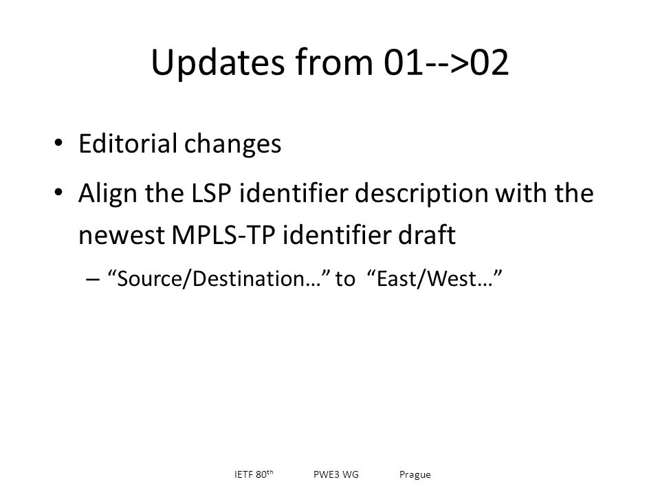 Updates from 01-->02 Editorial changes Align the LSP identifier description with the newest MPLS-TP identifier draft – Source/Destination… to East/West… IETF 80 th PWE3 WG Prague