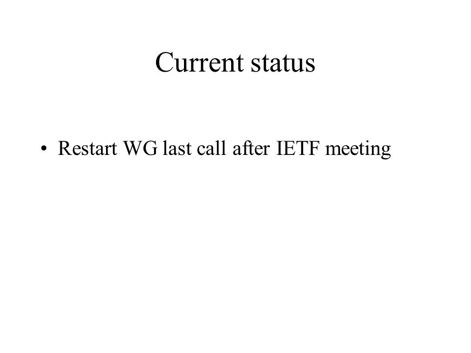Current status Restart WG last call after IETF meeting