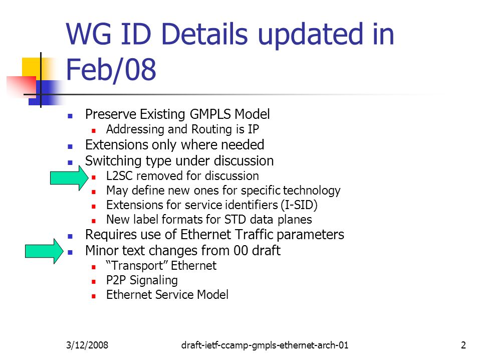 3/12/2008draft-ietf-ccamp-gmpls-ethernet-arch-012 WG ID Details updated in Feb/08 Preserve Existing GMPLS Model Addressing and Routing is IP Extensions only where needed Switching type under discussion L2SC removed for discussion May define new ones for specific technology Extensions for service identifiers (I-SID) New label formats for STD data planes Requires use of Ethernet Traffic parameters Minor text changes from 00 draft Transport Ethernet P2P Signaling Ethernet Service Model