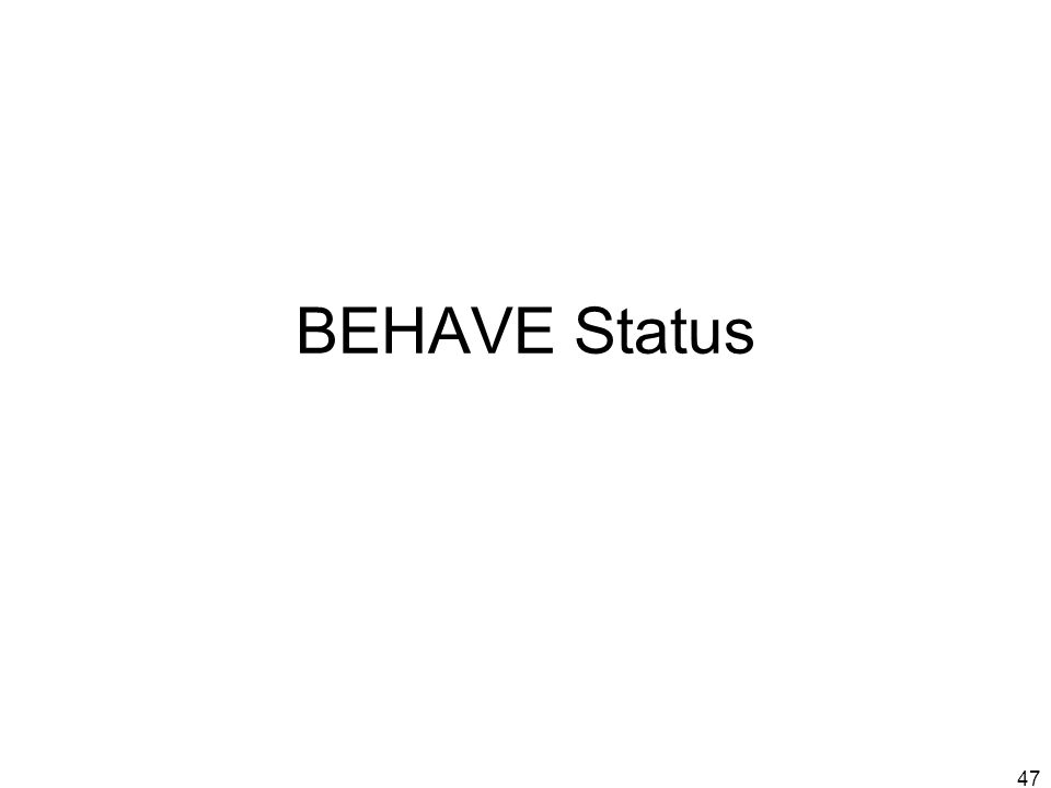47 BEHAVE Status
