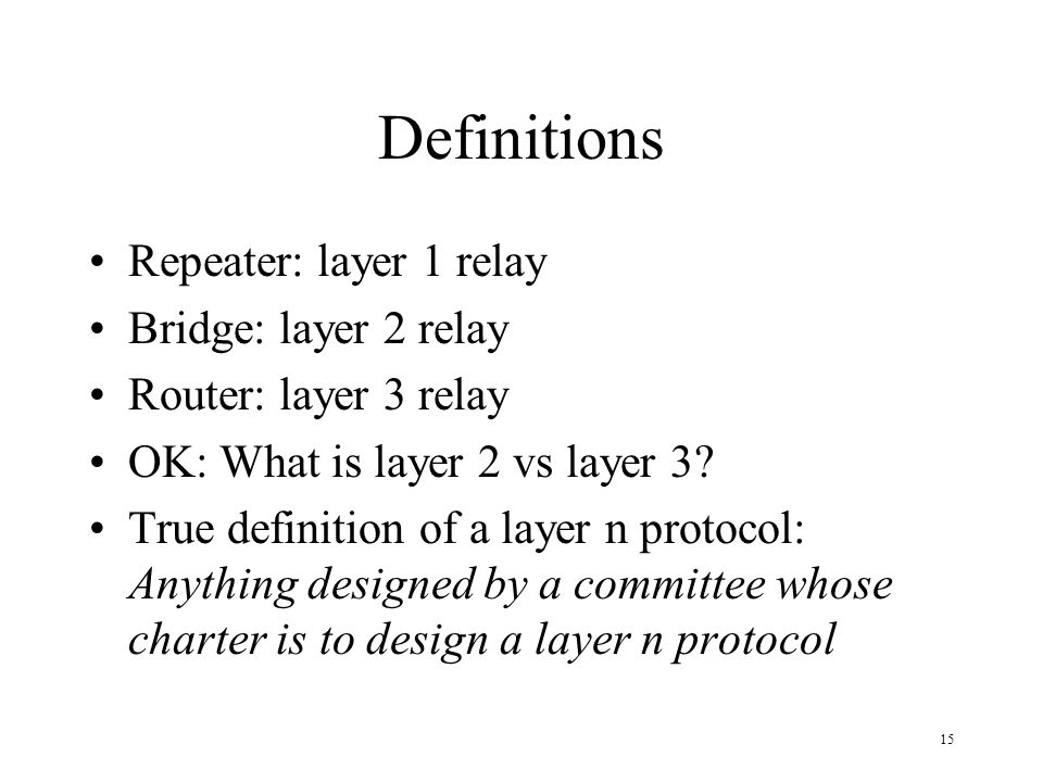 15 Definitions Repeater: layer 1 relay Bridge: layer 2 relay Router: layer 3 relay OK: What is layer 2 vs layer 3? True definition of a layer n protoc