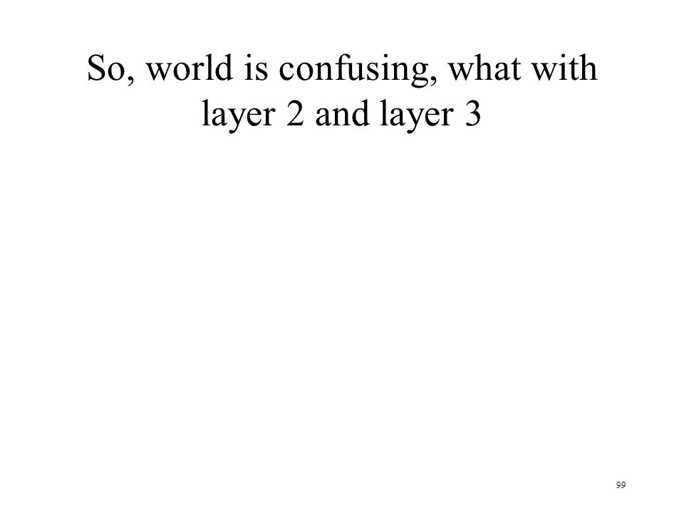99 So, world is confusing, what with layer 2 and layer 3