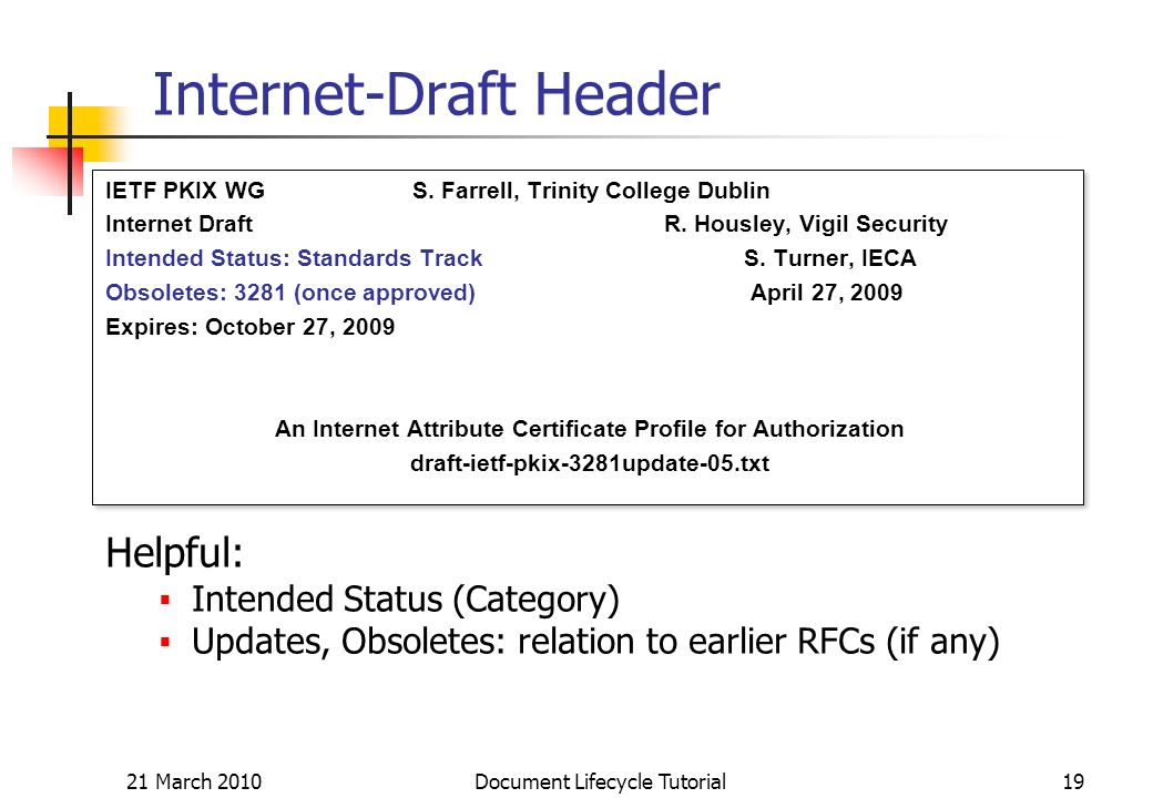 21 March 2010 Document Lifecycle Tutorial19 Internet-Draft Header IETF PKIX WG S.