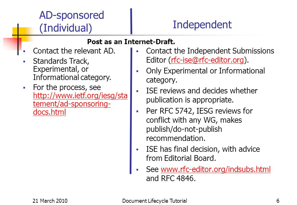 21 March 2010 Document Lifecycle Tutorial6 AD-sponsored (Individual) Contact the Independent Submissions Editor Only Experimental or Informational category.