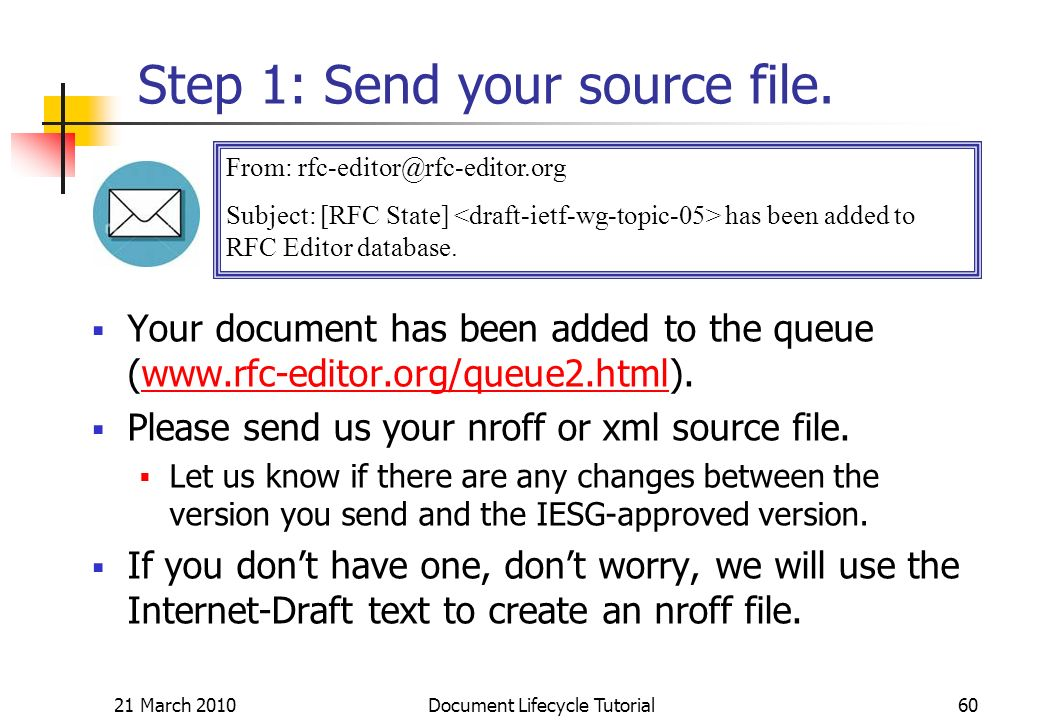 21 March 2010 Document Lifecycle Tutorial60 Step 1: Send your source file.
