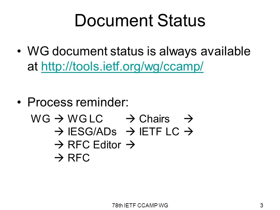 78th IETF CCAMP WG3 Document Status WG document status is always available at http://tools.ietf.org/wg/ccamp/http://tools.ietf.org/wg/ccamp/ Process reminder: WG WG LC Chairs IESG/ADs IETF LC RFC Editor RFC