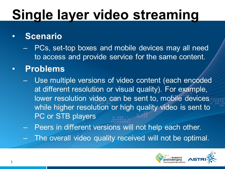 3 Single layer video streaming Scenario –PCs, set-top boxes and mobile devices may all need to access and provide service for the same content.