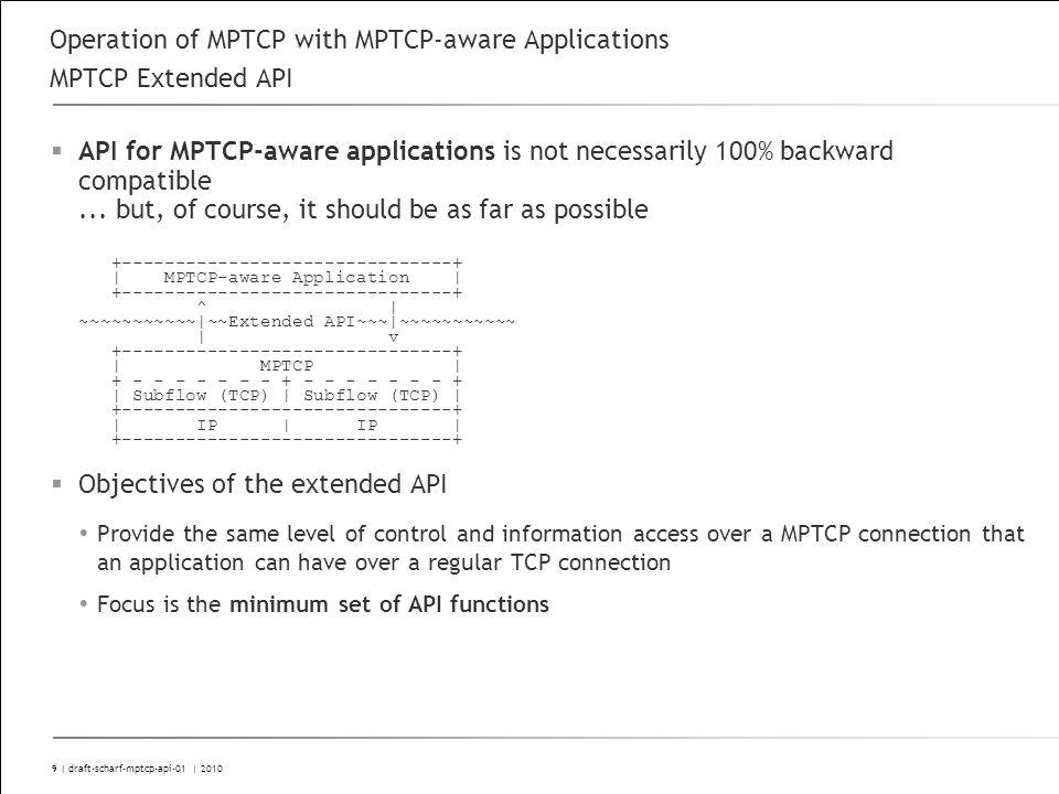 9 | draft-scharf-mptcp-api-01 | 2010 Operation of MPTCP with MPTCP-aware Applications MPTCP Extended API API for MPTCP-aware applications is not necessarily 100% backward compatible...