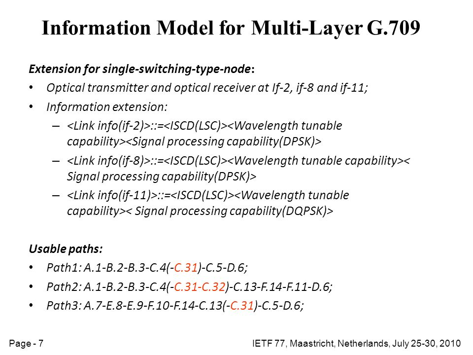 IETF 77, Maastricht, Netherlands, July 25-30, 2010Page - 7 Information Model for Multi-Layer G.709 Extension for single-switching-type-node : Optical transmitter and optical receiver at If-2, if-8 and if-11; Information extension: – ::= Usable paths: Path1: A.1-B.2-B.3-C.4(-C.31)-C.5-D.6; Path2: A.1-B.2-B.3-C.4(-C.31-C.32)-C.13-F.14-F.11-D.6; Path3: A.7-E.8-E.9-F.10-F.14-C.13(-C.31)-C.5-D.6;