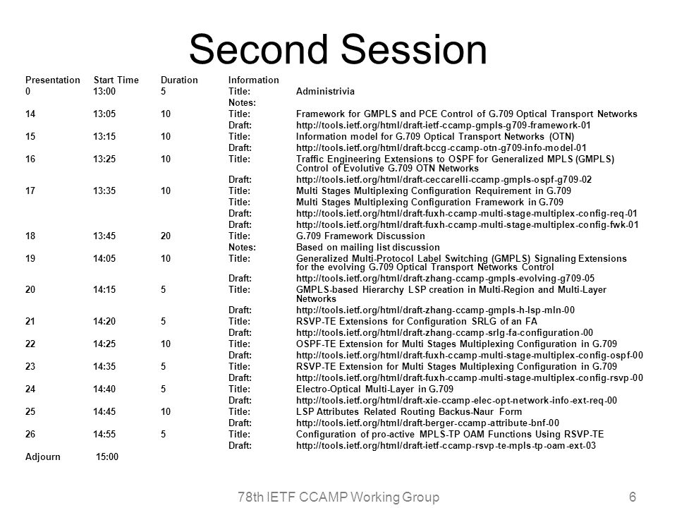 78th IETF CCAMP Working Group6 Second Session Presentation Start Time Duration Information 0 13:00 5 Title: Administrivia Notes: 14 13:05 10 Title: Framework for GMPLS and PCE Control of G.709 Optical Transport Networks Draft: http://tools.ietf.org/html/draft-ietf-ccamp-gmpls-g709-framework-01 15 13:15 10 Title: Information model for G.709 Optical Transport Networks (OTN) Draft: http://tools.ietf.org/html/draft-bccg-ccamp-otn-g709-info-model-01 16 13:25 10 Title: Traffic Engineering Extensions to OSPF for Generalized MPLS (GMPLS) Control of Evolutive G.709 OTN Networks Draft: http://tools.ietf.org/html/draft-ceccarelli-ccamp-gmpls-ospf-g709-02 17 13:35 10 Title: Multi Stages Multiplexing Configuration Requirement in G.709 Title: Multi Stages Multiplexing Configuration Framework in G.709 Draft: http://tools.ietf.org/html/draft-fuxh-ccamp-multi-stage-multiplex-config-req-01 Draft: http://tools.ietf.org/html/draft-fuxh-ccamp-multi-stage-multiplex-config-fwk-01 18 13:45 20 Title: G.709 Framework Discussion Notes: Based on mailing list discussion 19 14:05 10 Title: Generalized Multi-Protocol Label Switching (GMPLS) Signaling Extensions for the evolving G.709 Optical Transport Networks Control Draft: http://tools.ietf.org/html/draft-zhang-ccamp-gmpls-evolving-g709-05 20 14:15 5 Title: GMPLS-based Hierarchy LSP creation in Multi-Region and Multi-Layer Networks Draft: http://tools.ietf.org/html/draft-zhang-ccamp-gmpls-h-lsp-mln-00 21 14:20 5 Title: RSVP-TE Extensions for Configuration SRLG of an FA Draft: http://tools.ietf.org/html/draft-zhang-ccamp-srlg-fa-configuration-00 22 14:25 10 Title: OSPF-TE Extension for Multi Stages Multiplexing Configuration in G.709 Draft: http://tools.ietf.org/html/draft-fuxh-ccamp-multi-stage-multiplex-config-ospf-00 23 14:35 5 Title: RSVP-TE Extension for Multi Stages Multiplexing Configuration in G.709 Draft: http://tools.ietf.org/html/draft-fuxh-ccamp-multi-stage-multiplex-config-rsvp-00 24 14:40 5 Title: Electro-Optical Multi-Layer in G.709 Draft: http://tools.ietf.org/html/draft-xie-ccamp-elec-opt-network-info-ext-req-00 25 14:45 10 Title: LSP Attributes Related Routing Backus-Naur Form Draft: http://tools.ietf.org/html/draft-berger-ccamp-attribute-bnf-00 26 14:55 5 Title: Configuration of pro-active MPLS-TP OAM Functions Using RSVP-TE Draft: http://tools.ietf.org/html/draft-ietf-ccamp-rsvp-te-mpls-tp-oam-ext-03 Adjourn 15:00
