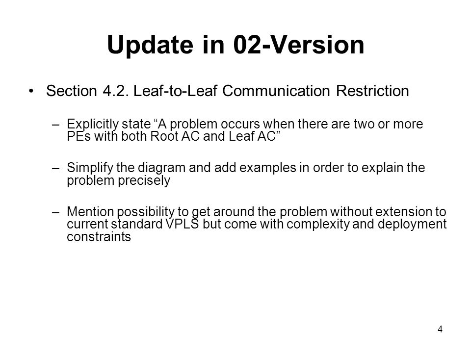Update in 02-Version Section 4.2. Leaf-to-Leaf Communication Restriction –Explicitly state A problem occurs when there are two or more PEs with both R