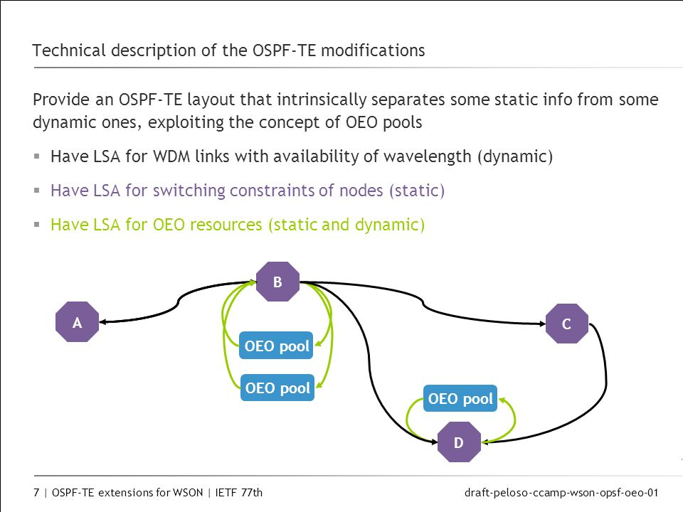 draft-peloso-ccamp-wson-opsf-oeo-01 7 | OSPF-TE extensions for WSON | IETF 77th Technical description of the OSPF-TE modifications Provide an OSPF-TE