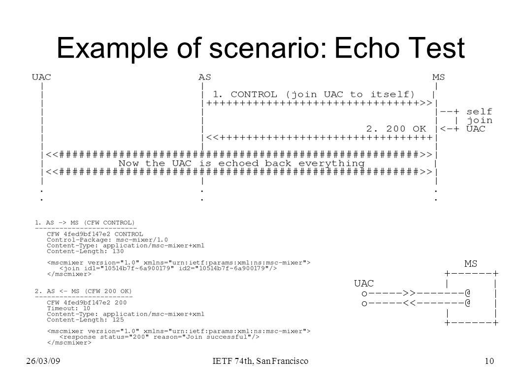 26/03/09IETF 74th, San Francisco10 Example of scenario: Echo Test