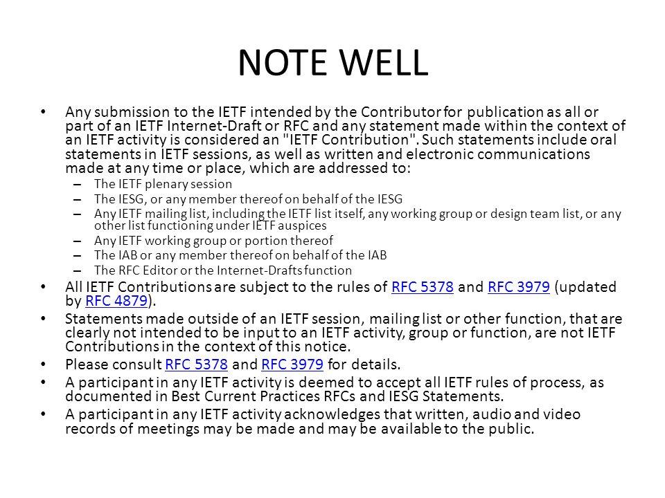 WG Information Web page: charter, current documents http://www.ietf.org/dyn/wg/charter/keyprov-charter.html Mailing List: keyprov@ietf.orgkeyprov@ietf.org – Subscribe: https://www.ietf.org/mailman/listinfo/keyprovhttps://www.ietf.org/mailman/listinfo/keyprov – Archive: http://www.ietf.org/mail-archive/web/keyprov/http://www.ietf.org/mail-archive/web/keyprov/ Chairs: – Phillip Hallam-Bakerphill@hallambaker.comphill@hallambaker.com – Hannes Tschofenig Hannes.Tschofenig@gmx.netHannes.Tschofenig@gmx.net Security Area Directors: – Pasi Eronenpasi.eronen@nokia.compasi.eronen@nokia.com – Tim Polktim.polk@nist.govtim.polk@nist.gov