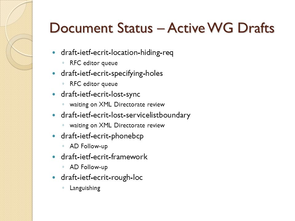 Document Status – Active WG Drafts draft-ietf-ecrit-location-hiding-req RFC editor queue draft-ietf-ecrit-specifying-holes RFC editor queue draft-ietf