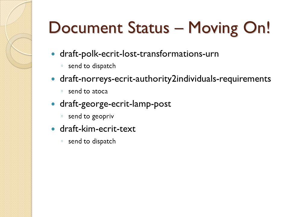 Document Status – Moving On! draft-polk-ecrit-lost-transformations-urn send to dispatch draft-norreys-ecrit-authority2individuals-requirements send to