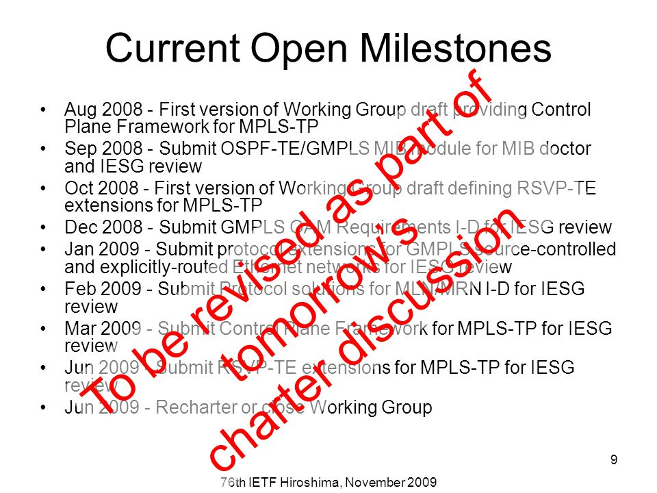 76th IETF Hiroshima, November 2009 9 Aug 2008 - First version of Working Group draft providing Control Plane Framework for MPLS-TP Sep 2008 - Submit OSPF-TE/GMPLS MIB module for MIB doctor and IESG review Oct 2008 - First version of Working Group draft defining RSVP-TE extensions for MPLS-TP Dec 2008 - Submit GMPLS OAM Requirements I-D for IESG review Jan 2009 - Submit protocol extensions for GMPLS source-controlled and explicitly-routed Ethernet networks for IESG review Feb 2009 - Submit Protocol solutions for MLN/MRN I-D for IESG review Mar 2009 - Submit Control Plane Framework for MPLS-TP for IESG review Jun 2009 - Submit RSVP-TE extensions for MPLS-TP for IESG review Jun 2009 - Recharter or close Working Group To be revised as part of tomorrows charter discussion Current Open Milestones