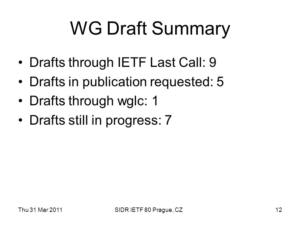 Thu 31 Mar 2011SIDR IETF 80 Prague, CZ12 WG Draft Summary Drafts through IETF Last Call: 9 Drafts in publication requested: 5 Drafts through wglc: 1 Drafts still in progress: 7