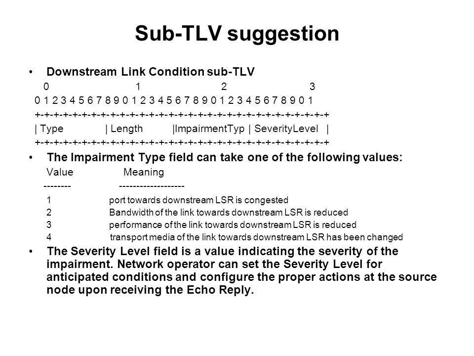 Sub-TLV suggestion Downstream Link Condition sub-TLV 0 1 2 3 0 1 2 3 4 5 6 7 8 9 0 1 2 3 4 5 6 7 8 9 0 1 2 3 4 5 6 7 8 9 0 1 +-+-+-+-+-+-+-+-+-+-+-+-+-+-+-+-+-+-+-+-+-+-+-+-+-+-+-+-+-+-+ | Type | Length |ImpairmentTyp | SeverityLevel | +-+-+-+-+-+-+-+-+-+-+-+-+-+-+-+-+-+-+-+-+-+-+-+-+-+-+-+-+-+-+ The Impairment Type field can take one of the following values: ValueMeaning -------- ------------------- 1 port towards downstream LSR is congested 2 Bandwidth of the link towards downstream LSR is reduced 3 performance of the link towards downstream LSR is reduced 4 transport media of the link towards downstream LSR has been changed The Severity Level field is a value indicating the severity of the impairment.