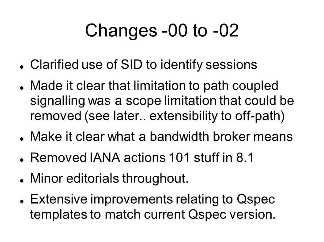 Changes -00 to -02 Clarified use of SID to identify sessions Made it clear that limitation to path coupled signalling was a scope limitation that could be removed (see later..