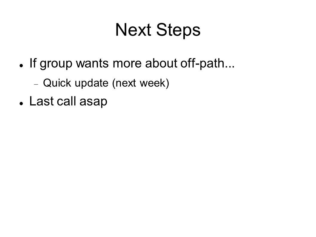 Next Steps If group wants more about off-path... Quick update (next week) Last call asap