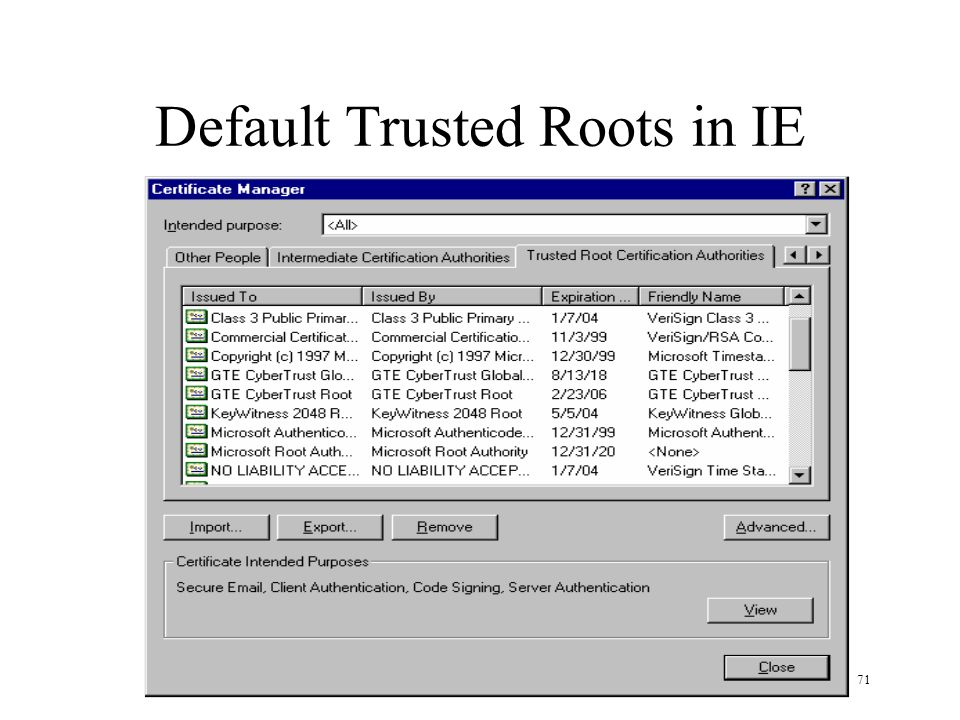 71 Default Trusted Roots in IE