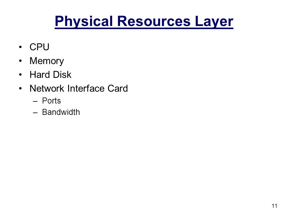 Physical Resources Layer CPU Memory Hard Disk Network Interface Card –Ports –Bandwidth 11