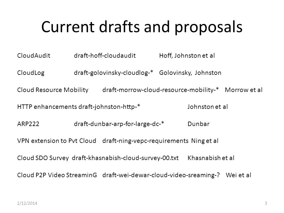 Current drafts and proposals 2/12/20143 CloudAuditdraft-hoff-cloudauditHoff, Johnston et al CloudLog draft-golovinsky-cloudlog-* Golovinsky, Johnston Cloud Resource Mobilitydraft-morrow-cloud-resource-mobility-* Morrow et al HTTP enhancements draft-johnston-http-*Johnston et al ARP222 draft-dunbar-arp-for-large-dc-*Dunbar VPN extension to Pvt Clouddraft-ning-vepc-requirements Ning et al Cloud SDO Survey draft-khasnabish-cloud-survey-00.txtKhasnabish et al Cloud P2P Video StreaminG draft-wei-dewar-cloud-video-sreaming-.
