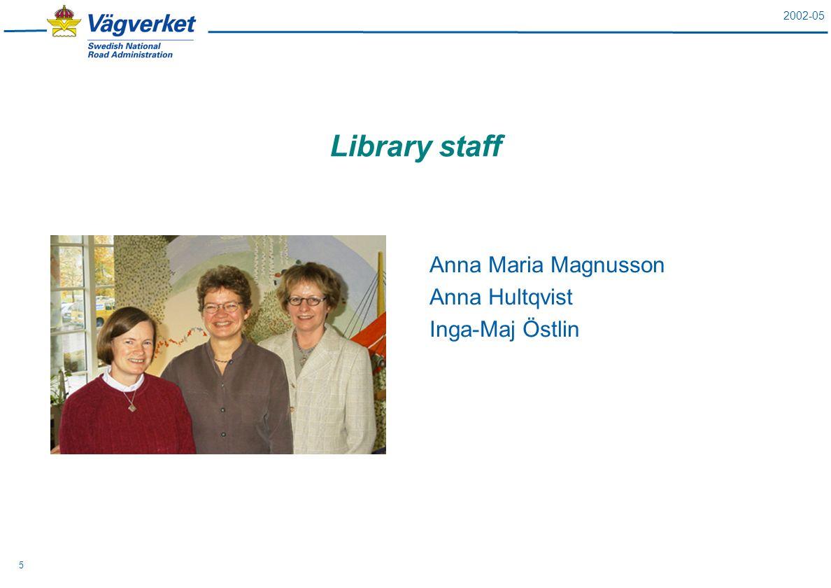 2002-05 5 Library staff Anna Maria Magnusson Anna Hultqvist Inga-Maj Östlin
