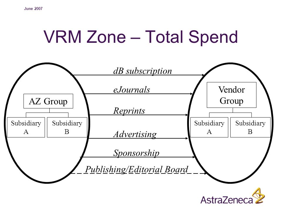 June 2007 VRM Zone – Total Spend AZ Group Subsidiary A Subsidiary B Vendor Group Subsidiary A Subsidiary B dB subscription eJournals Reprints Advertis