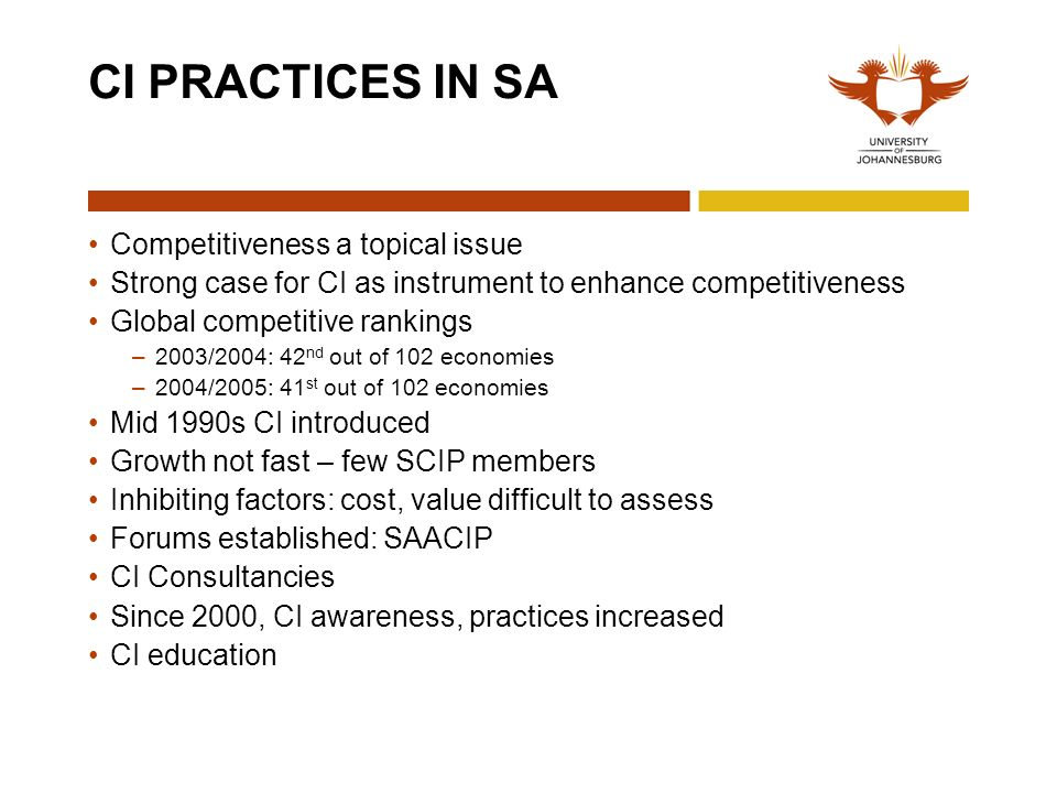 CI PRACTICES IN SA Competitiveness a topical issue Strong case for CI as instrument to enhance competitiveness Global competitive rankings –2003/2004: