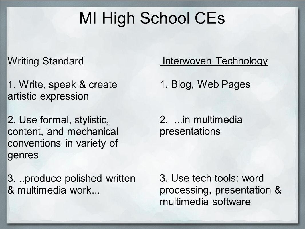 MI High School CEs Writing Standard 1. Write, speak & create artistic expression 2.