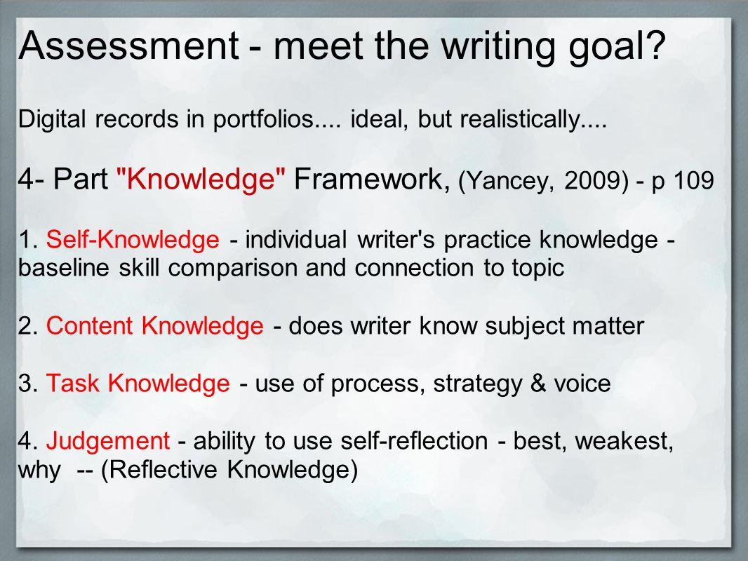 Assessment - meet the writing goal. Digital records in portfolios....