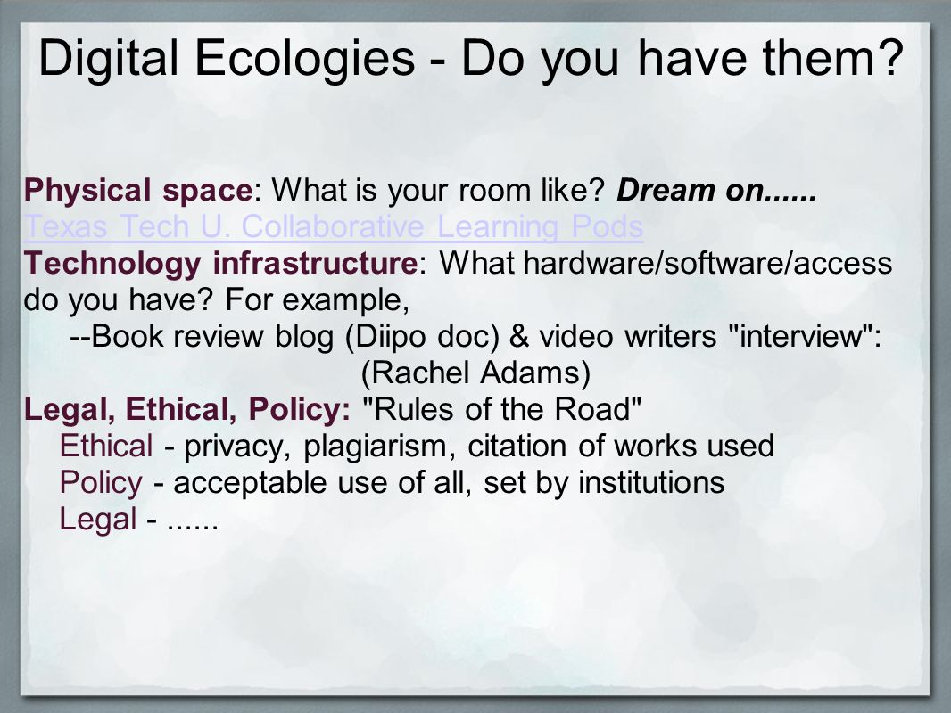 Digital Ecologies - Do you have them. Physical space: What is your room like.