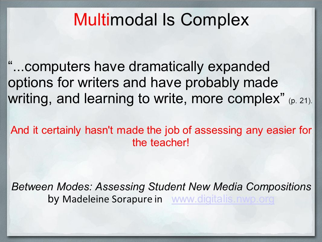 Multimodal Is Complex...computers have dramatically expanded options for writers and have probably made writing, and learning to write, more complex (p.
