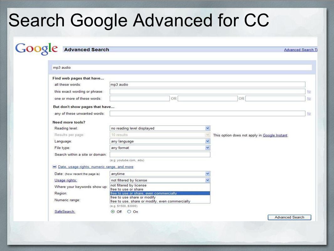 Search Google Advanced for CC