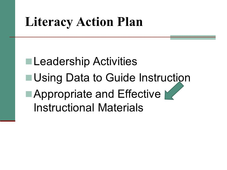 Literacy Action Plan Leadership Activities Using Data to Guide Instruction Appropriate and Effective Instructional Materials