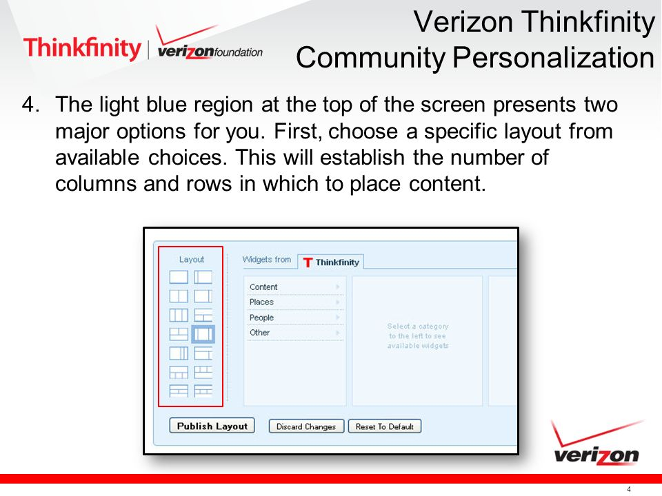 4 Verizon Thinkfinity Community Personalization 4.The light blue region at the top of the screen presents two major options for you.